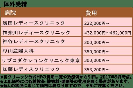 タイトル 体外受精価格一覧表 キャプション